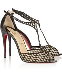 Christian Louboutin Tiny 100 Leather And Lace Sandals - Lyst