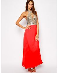 Tfnc Maxi Dress with Sequin High Neck Bodice - Lyst