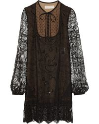Emilio Pucci Embellished Lace Mini Dress - Lyst