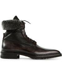 Santoni Black  Boots - Lyst