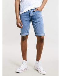 Topman Light Wash Denim Shorts - Lyst