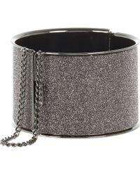River Island Grey Gunmetal Glitter Chain Detail Bangle - Lyst