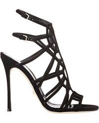 Sergio Rossi Puzzle Caged Sandals black - Lyst