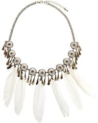 Asos Feather Collar Necklace - Lyst