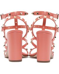 Valentino Coral Leather Rockstud City Sandals - Lyst