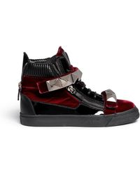 Giuseppe Zanotti 'London' Stud Velvet Sneakers - Lyst