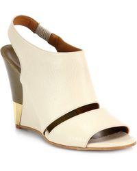 Chloé Peep-Toe Leather Wedge beige - Lyst