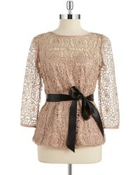 Adrianna Papell Sequin And Lace Cinched Blouse - Lyst