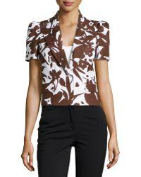 Michael Kors Floral Short-Sleeve Jacket - Lyst