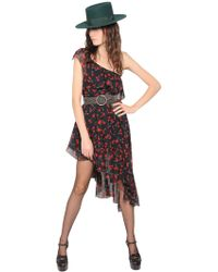 Saint Laurent - Cherry Print Ruffled Silk Chiffon Dress - Lyst