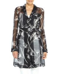 Jason Wu Black Silk X-Ray Floral Print Organza Trench - Lyst
