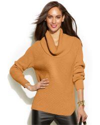 Michael Kors Michael Petite Chunky Knit Cowl-Neck Sweater - Lyst