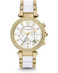 Michael Kors Mini Parker Glitz Goldtone Stainless Steel & Acetate Chronograph Bracelet Watch - Lyst