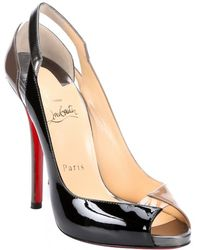 Christian Louboutin Brown And Black Patent Leather 'Technicatina 120' Peep-Toe Pumps - Lyst