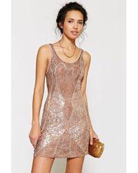 Ecote - Beaded Mini Dress - Lyst
