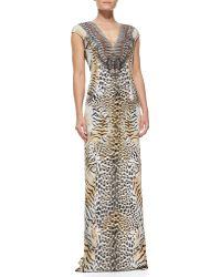 Camilla Silk Animal-Print Long Coverup Dress - Lyst