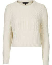 Topshop Petite Shrunken Cable Sweater - Lyst
