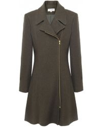 Helene Berman Boiled Wool Zip Coat - Lyst