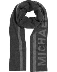 Michael Kors - Striped Logo Wool Scarf - Lyst