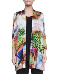 Caroline Rose Butterfly-Print Knit Cardigan - Lyst