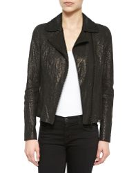Elie Tahari Nancy Snake-Embossed Leather Jacket - Lyst