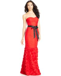 JS Collections Strapless Belted Mermaid Gown - Lyst