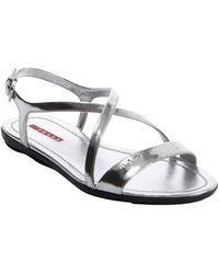Prada Silver Leather Cross Strap Open Toe Sandals - Lyst