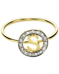 Kacey K Small Circle Initial Ring - Lyst