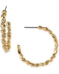 Alexis Bittar Crystal Encrusted Golden Rocky Hoop Earrings - Lyst