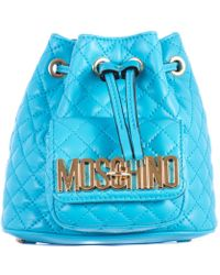 Moschino Blue Sky Stitched Leather Mini Backpack blue - Lyst