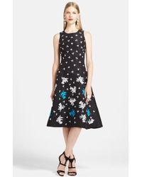 Oscar de la Renta Embroidered Silk Dress - Lyst