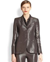 Akris Metallic Silk & Wool Crepe Lurex Jacket - Lyst