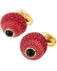 Trianon - Red Shell Cuff Links with Black Onyx Center - Lyst