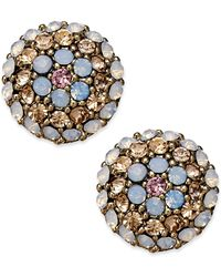 Betsey Johnson Goldtone Flower Crystal Stud Earrings - Lyst