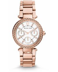 Michael Kors Mini Parker Pavé-embellished Rose Gold-tone Stainless Steel Watch - Lyst