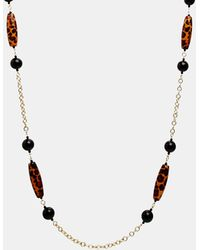 Kenneth Jay Lane Leopard Bead Chain Necklace - Lyst