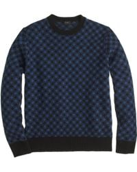 J.Crew Lambswool Diamond Check Sweater - Lyst