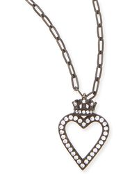 Katie Design Jewelry - Black Crowned Open Heart Charm Necklace - Lyst
