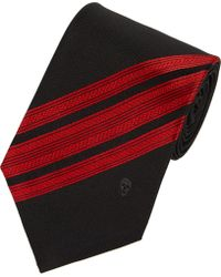 Alexander McQueen Diagonalstripe Jacquard Silk Neck Tie - Lyst