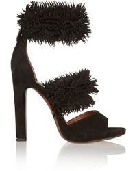 Alaïa Fringed Suede Sandals - Lyst