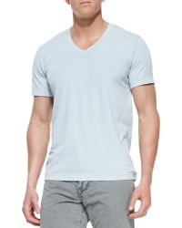 James Perse Shortsleeve Vneck Tee Lt Blue - Lyst