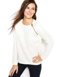 Vince Camuto Two by Embossed Zip-detail Sweater - Lyst