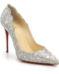 Christian Louboutin Top Vague Crystal Mesh Pumps silver - Lyst