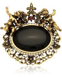 Alcozer & J - Golden Brass Gemstones With Little Angels Brooch - Lyst
