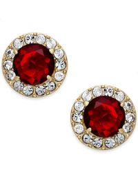Kate Spade New York Gold-Plated Crystal Pavé Ruby Stone Stud Earrings - Lyst