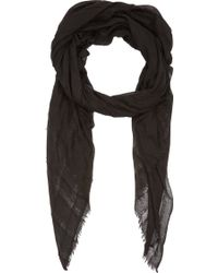 Barneys New York Black Fringed-stripe Scarf - Lyst