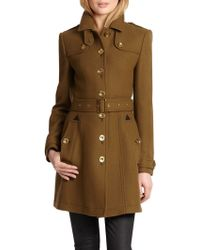 Burberry Brit Leather-detail Didmoore Coat - Lyst