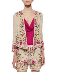 Haute Hippie Floral-Embroidered Scalloped Jacket - Lyst