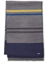 BOSS | Contrast Stripe Wool Scarf | Lyst