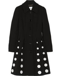 Moschino Embroidered Pleated Woolblend Coat - Lyst